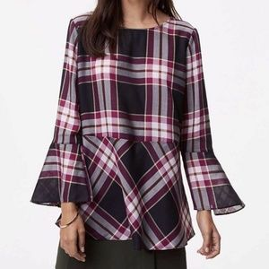 Loft Plaid Peplum Tunic Top
